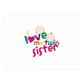 Amo a mi hermana gemela postal