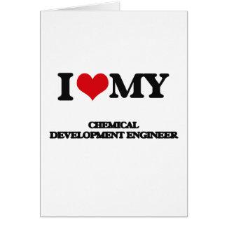 Amo a mi ingeniero de desarrollo químico tarjeta de felicitación