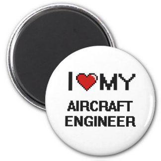 Amo a mi ingeniero de los aviones imán redondo 5 cm