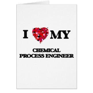 Amo a mi ingeniero de proceso químico tarjeta de felicitación