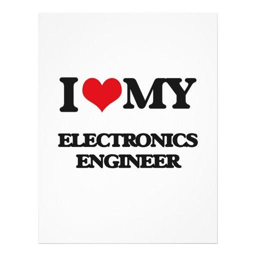 Amo a mi ingeniero electrónico flyer a todo color