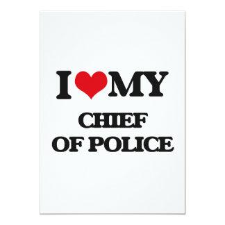 Amo a mi jefe de policía invitación 12,7 x 17,8 cm