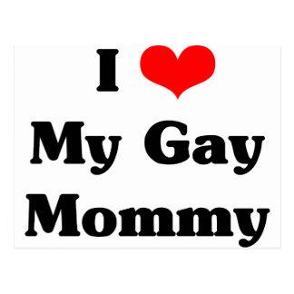 Amo a mi mamá gay tarjeta postal
