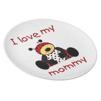 Amo a mi mamá (la mariquita del muchacho) plato para fiesta