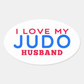 Amo a mi marido del judo pegatinas de óval