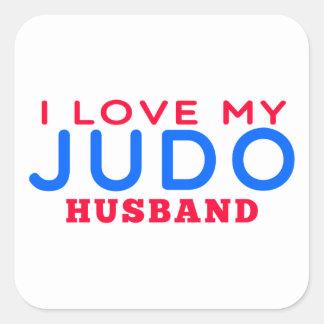 Amo a mi marido del judo pegatinas cuadradases