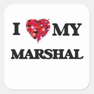 Amo a mi mariscal pegatina cuadrada