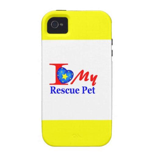 "Amo a mi mascota ""Heroes4Rescue "" del rescate Vibe iPhone 4 Carcasa"