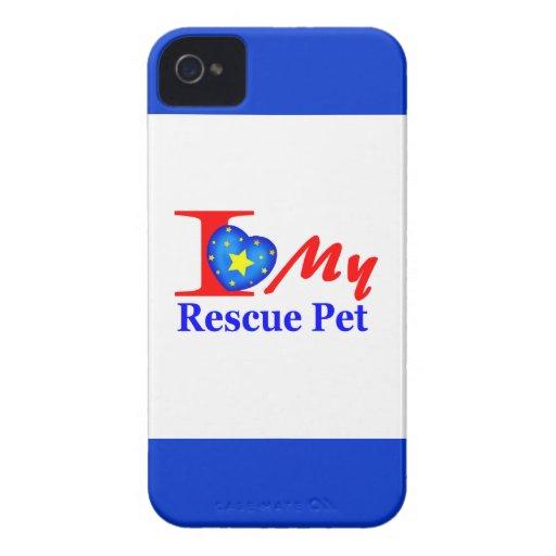 "Amo a mi mascota ""Heroes4Rescue "" del rescate iPhone 4 Case-Mate Protector"