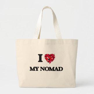 Amo a mi nómada bolsa tela grande