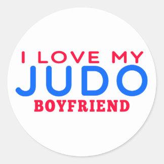 Amo a mi novio del judo pegatinas redondas