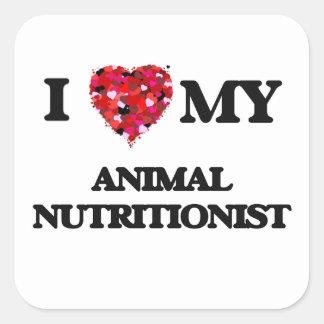 Amo a mi nutricionista animal pegatina cuadrada