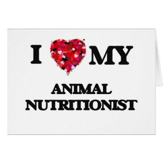 Amo a mi nutricionista animal tarjeta de felicitación