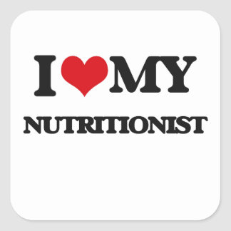 Amo a mi nutricionista pegatina cuadrada