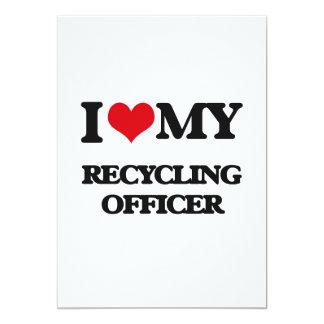 Amo a mi oficial de reciclaje invitación 12,7 x 17,8 cm