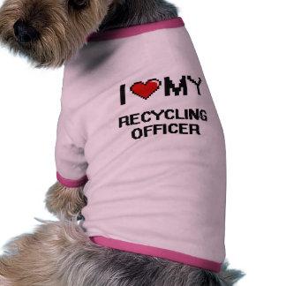 Amo a mi oficial de reciclaje camiseta con mangas para perro