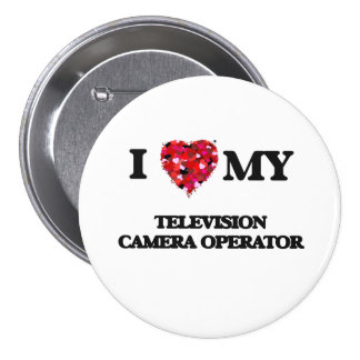 Amo a mi operador de la cámara de televisión chapa redonda 7 cm