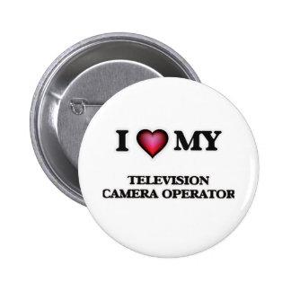 Amo a mi operador de la cámara de televisión chapa redonda de 5 cm