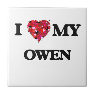 Amo a MI Owen Azulejo Cuadrado Pequeño