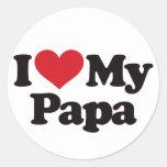 Amo a mi papá etiquetas redondas