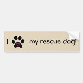 Amo a mi pegatina para el parachoques del perro