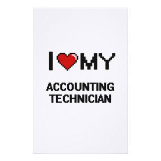 Amo a mi técnico de la contabilidad papelería personalizada