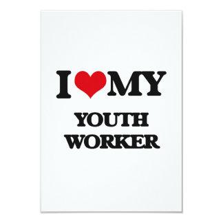 Amo a mi trabajador de la juventud invitación 8,9 x 12,7 cm