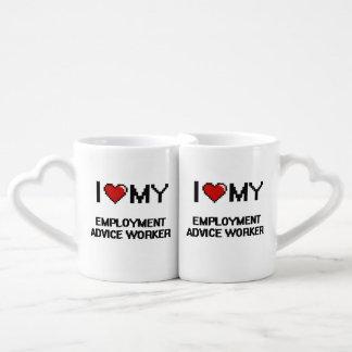 Amo a mi trabajador del consejo del empleo taza para enamorados