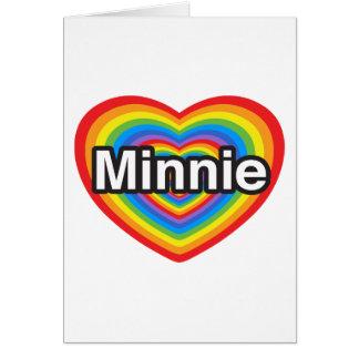 Amo a Minnie. Te amo Minnie. Corazón Tarjetas