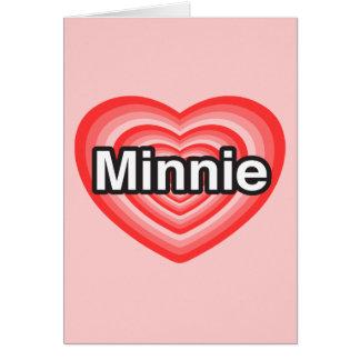 Amo a Minnie. Te amo Minnie. Corazón Tarjetón