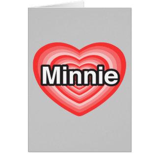 Amo a Minnie. Te amo Minnie. Corazón Tarjeta De Felicitación
