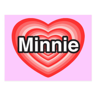Amo a Minnie Te amo Minnie Corazón Tarjetas Postales