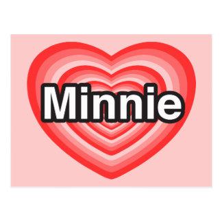 Amo a Minnie. Te amo Minnie. Corazón Tarjeta Postal