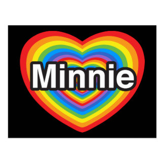 Amo a Minnie. Te amo Minnie. Corazón Postal