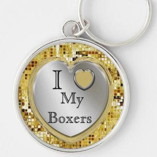 ¿Amo a mis boxeadores o? Llavero del corazón
