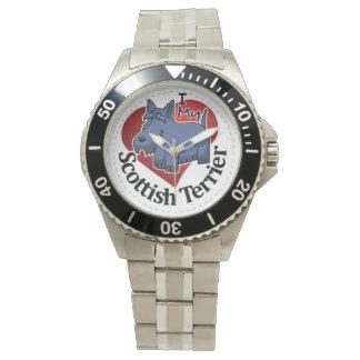 Amo a mis escoceses divertidos y lindos adorables reloj