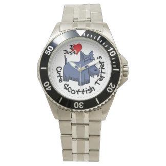 Amo a mis escoceses divertidos y lindos felices reloj