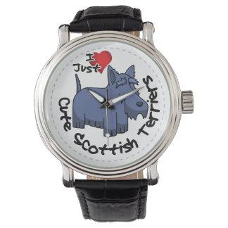 Amo a mis escoceses divertidos y lindos felices reloj de pulsera