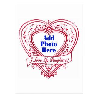 ¡Amo a mis hijas! Corazones del rojo de la foto Postal