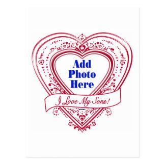 ¡Amo a mis hijos! Corazones del rojo de la foto Postal