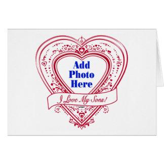 ¡Amo a mis hijos! Corazones del rojo de la foto Tarjetas