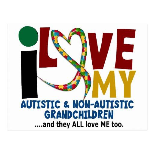Amo a mis nietos autísticos y de NonAutistic 2 Tarjeta Postal
