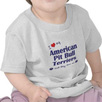 Amo a mis terrieres de pitbull americanos (los camisetas