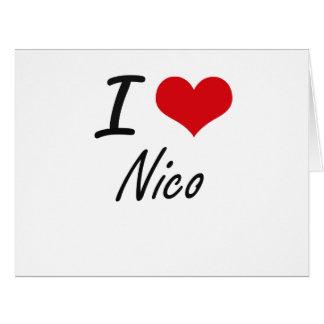 Amo a Nico Tarjeta De Felicitación Grande