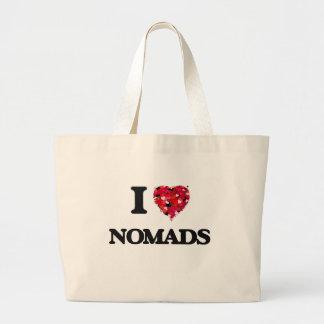 Amo a nómadas bolsa tela grande