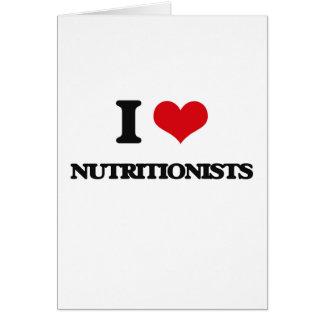 Amo a nutricionistas tarjeta de felicitación