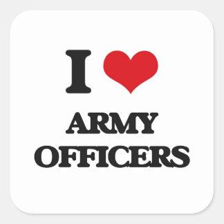 Amo a oficiales de ejército pegatina cuadrada