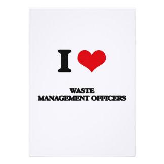 Amo a oficiales de la gestión de desechos invitación