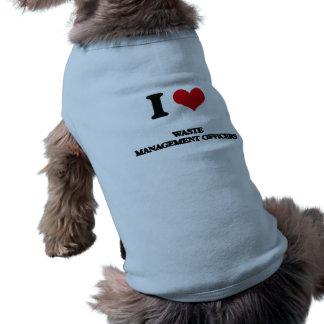 Amo a oficiales de la gestión de desechos camiseta de perrito