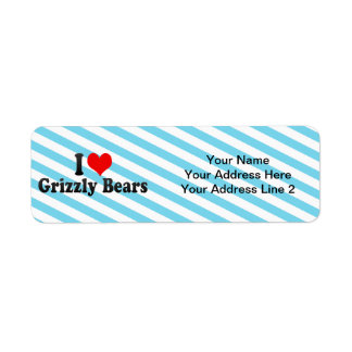 Amo a osos grizzly etiqueta de remite